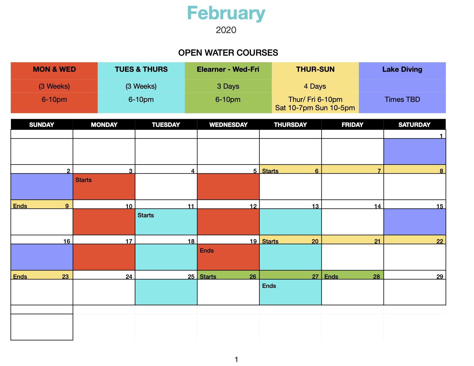 Open Water September Schedule