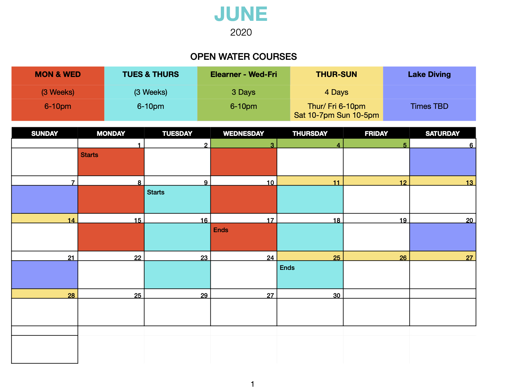 Open Water June Schedule
