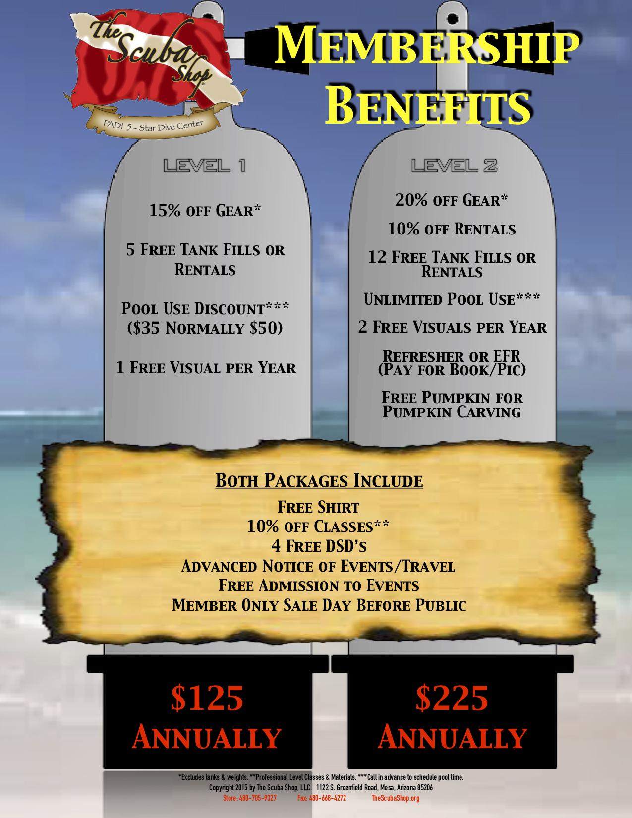 The Scuba Shop Membership Flyer